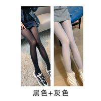超薄马油袜女夏防勾丝连裤袜外穿薄款光腿神器油光袜钢丝袜瘦腿袜 均码 黑色+灰色 2条装