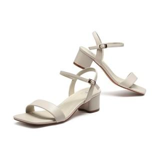 CAMEL 骆驼 女鞋2021夏季鞋子新款百搭中跟粗跟网红罗马一字带凉鞋女 米白 37