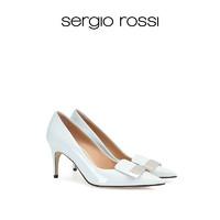 Sergio Rossi塞乔罗西/21春夏新品sr1系列尖头浅蓝亮面女士高跟鞋 浅蓝色 36