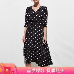 super.natural 雪纺裙子连衣裙女夏波点收腰七分袖显瘦长款休闲百搭