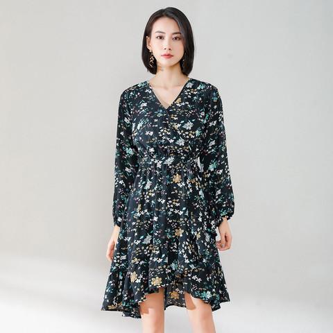 La Chapelle 拉夏贝尔 旗下新款小碎花v领长袖连衣裙女式中长款裙子收腰