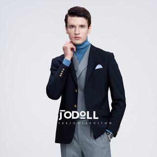 Jodoll 乔顿 西服套装上衣男士春秋舒适版黑色100%纯羊毛小西装外套