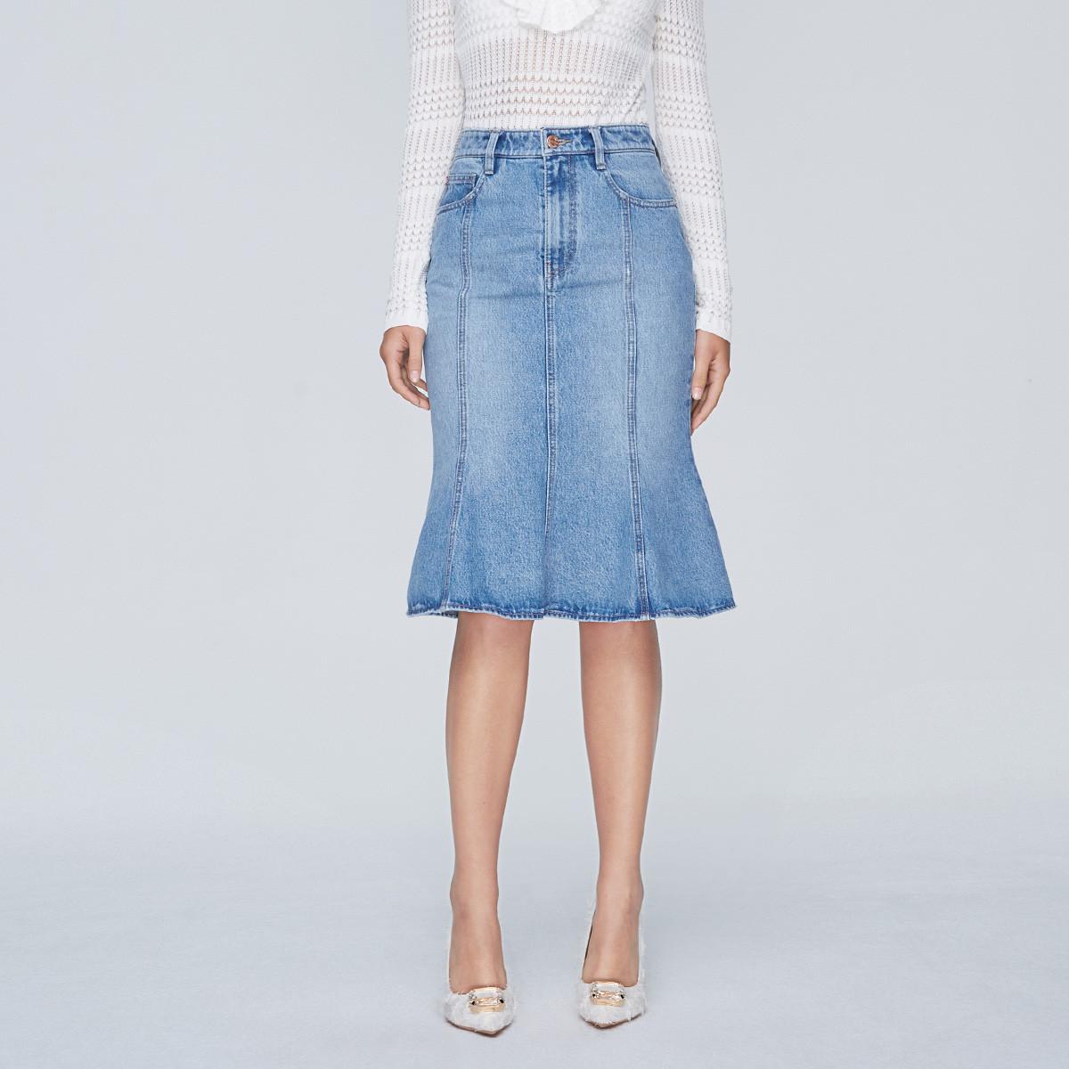 MISS SIXTY 荷叶边鱼尾裙一步裙包臀裙牛仔裙女士半身裙
