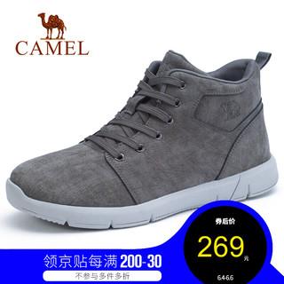 CAMEL 骆驼 男鞋 牛皮时尚运动休闲鞋百搭高帮男鞋潮流马丁靴子 灰绿 38