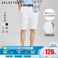SELECTED思莱德秋季新款纯亚麻纯色男士潮流休闲短裤S|4202SH517 浅灰色LIGHT GREY 170/76A/SR