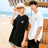 【西蒙的猫联名款】夏季新款男士短袖T恤宽松圆领青年情侣半袖 M 黑色