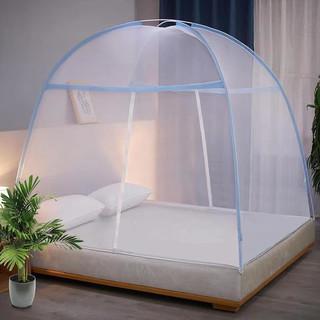家用蚊帐免安装蒙古包家用1.8米床1.5m学生1.2米帐篷单人0.9m 经典-蓝 1.2米床加密加高