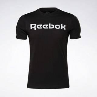 Reebok 锐步 运动健身 GS Linear Read Tee 男子基础款短袖T恤 GJ0136_黑色 A/L