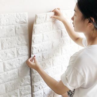 晴画 防撞墙贴护墙板 墙纸自粘 3D立体白色砖纹加厚墙面贴纸 卧室装饰电视墙壁纸泡沫墙纸 70*77cm