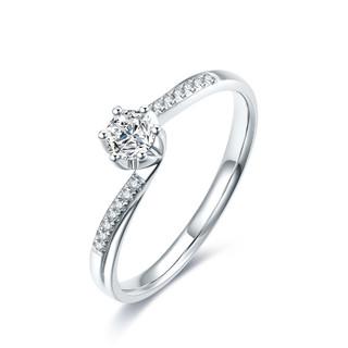 ZLF 周六福 白18K金钻戒扭臂钻石戒指结婚戒指女戒