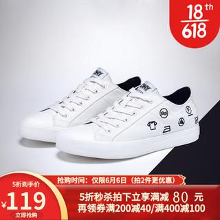 PONY/波尼经典款Shooter帆布鞋休闲运动涂鸦女鞋92W1SH03 白色 38