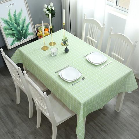 3号馆 桌布防水防油防烫免洗PVC北欧方格长方形桌垫餐桌布艺 绿色格子 137*90cm