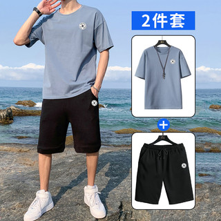 GOOD YEAR 固特异 夏季纯棉短袖T恤男透气运动裤潮流薄款短裤运动套装