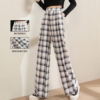 La Chapelle 拉夏贝尔 旗下春季新款高腰格子阔腿长裤女式直筒显瘦百搭休闲裤
