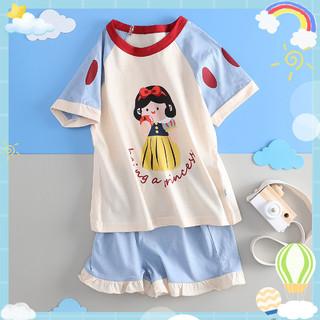 Miiow 猫人 女童装宝宝夏季纯棉睡衣儿童家居服套装中大童女童居家服短袖套头