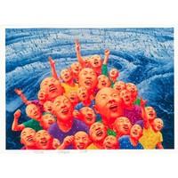 阿斯蒙迪 方力钧亲笔签名版画限量99版丝网版光头鲜花丝网版横幅艺术收藏品手工画框收藏证书112*80 2013年春
