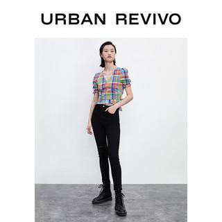 URBAN REVIVO UR春夏新品青春女装格子灯笼袖衬衫YL19S2CN2005