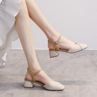 Cardanro 卡丹路 羊皮鞋垫后空凉鞋撞色高跟鞋子女士单鞋粗跟通勤鞋方头浅口小皮鞋