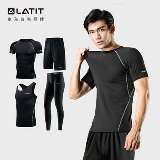 LATIT 运动套装男健身跑步短袖紧身衣短裤压缩长裤篮球服T恤NZ9001-黑色拼线-短袖四件套-XL