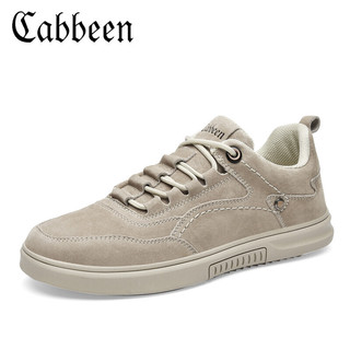 Cabbeen 卡宾 男鞋透气男士休闲板鞋韩版百搭鞋子男四季户外运动休闲鞋男3201205506 沙色 41