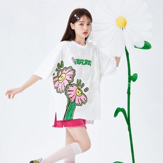 Semir 森马 2021夏季新款开叉下摆花卉oversize针织衫短袖T恤女