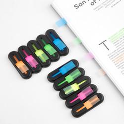 fizz 飞兹 荧光膜创意指示索引标签 五色彩色标注便利贴防水可书写分类标记贴 44*12mm 20张一包