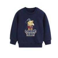CLASSIC TEDDY 精典泰迪 儿童套头卫衣 棒球帽子熊净面DIY款 深蓝色 100cm