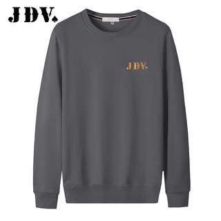 JDV/杰帝梵刺绣加绒圆领卫衣男士秋季长袖T恤男外套大码宽松上衣