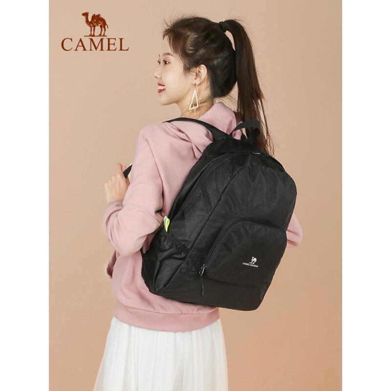 CAMEL 骆驼 双肩可折叠背包男轻便捷户外旅行女登山徒步日常休闲皮肤包 T1S3UK101,黑色 可折叠双肩包