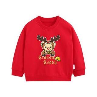 CLASSIC TEDDY 精典泰迪 儿童套头卫衣 麋鹿熊定制款 大红色 80cm