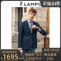LAMPO 蓝豹 男士单西20全季新品纯棉商务休闲深蓝双开叉西装外套男