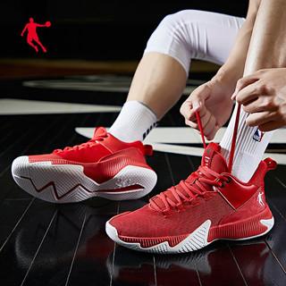 QIAODAN 乔丹 篮球鞋男鞋耐磨2021年春夏季外场高帮运动鞋防滑减震透气学生实战毒液5战靴