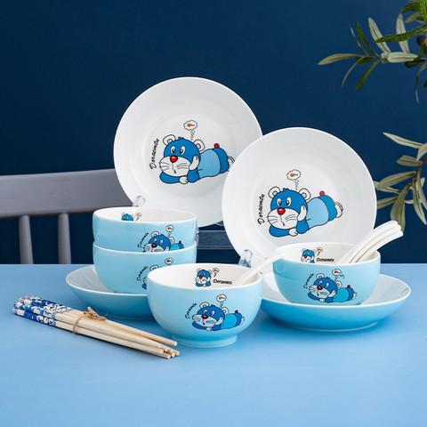 16件新骨瓷卡通色釉蓝猫碗盘套装