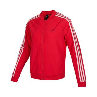 adidas 阿迪达斯 春季新款女子梭织夹克运动休闲红色外套棒球服女装