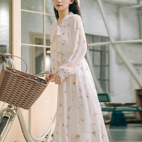 Promone 缤慕 春款收腰显瘦气质仙女森系长袖碎花裙甜美中长裙连衣裙