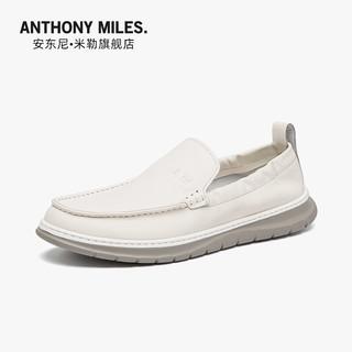 Anthony Miles 2021夏季新款男士套脚休闲皮鞋平底时尚潮流舒适平底鞋板鞋真皮鞋 白色AT22J001B 41