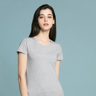 J.ZAO 京东京造 圆领短袖T恤女夏季透气精梳棉合体百搭纯色 花灰色 S