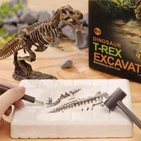 艾高 儿童恐龙化石考古挖掘玩具恐龙骨架拼装模型宝石手工制作diy材料 复古霸王龙【送防护眼镜】