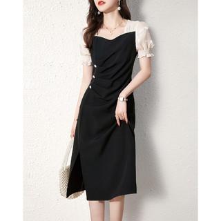 XWI 女款拼色时尚显瘦中长款裙子优雅精致连衣裙