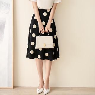 missshine 米思阳 2021夏季新款气质优雅减龄波点半身裙高腰显瘦a字裙子