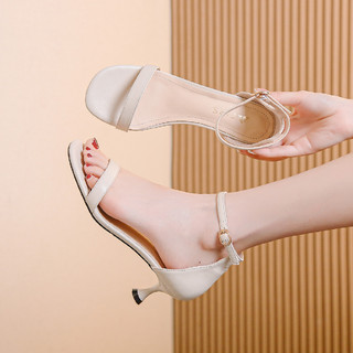 FIRS 杉杉 夏季新款中空优雅一字带气质后包漏趾时装高跟凉鞋女