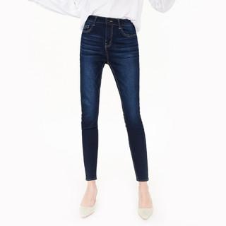super.natural 春夏棉质弹力牛仔时尚修身水洗小脚裤长裤休闲百搭女式牛仔裤女