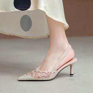 卡美多 性感网纱细跟尖头鞋子女后绊带水钻包头凉鞋