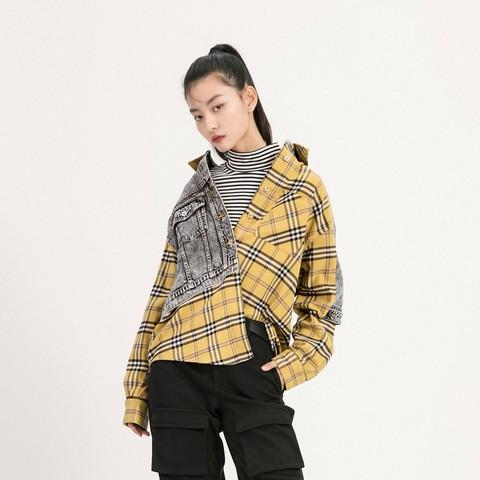 ONLY 2021春季新款时尚格子牛仔拼接长袖设计感衬衫女 121105016