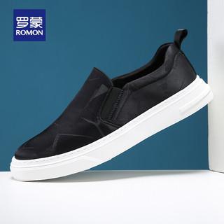 ROMON 罗蒙 休闲鞋子男时尚潮流适舒便捷一脚蹬套脚板鞋韩版百搭透气男鞋子 AH33337 黑色 41