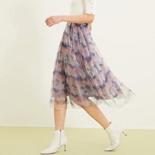 ONLY 2021春季新款时尚网纱拼接格子设计中长款半身裙女|121216020