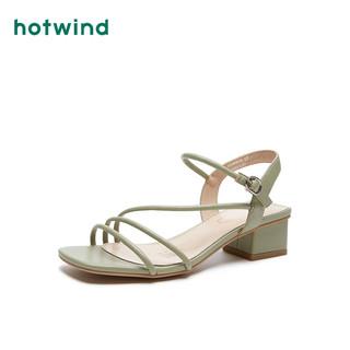 hotwind 热风 H56W0616 女士ins仙女风一字扣带粗跟凉鞋