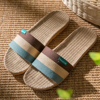 利达妮 亚麻拖鞋男潮室内室外防滑外出家居凉鞋居家用夏天凉拖鞋男士外穿