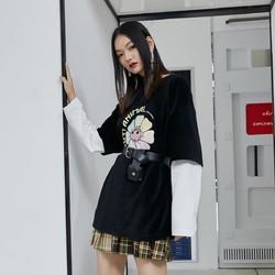 ONLY 2021春季新款时尚宽松拼接假两件甜美印花卫衣女 12119S112