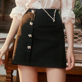 COLORMIKIBANA 米可芭纳黑色气质显瘦钉珠a字半身裙女2021春季新款